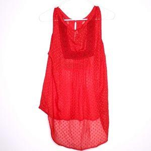 Daniel Rainn Swiss Dots Crochet Front Sleeveless M
